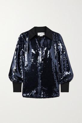 Victoria Victoria Beckham Satin-trimmed Sequined Tulle Shirt - Navy
