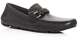 Salvatore Ferragamo Men's Stuart Braided Leather Moc-Toe Drivers - Wide
