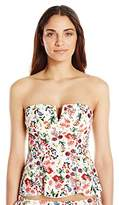 Jessica Simpson Women's Garden Party Floral V-Wire Peplum Tankini Top