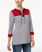 Charter Club Lace-Up Striped Henley Top, Only at Macy's