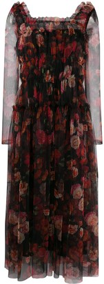 Molly Goddard Floral Flared Midi Dress