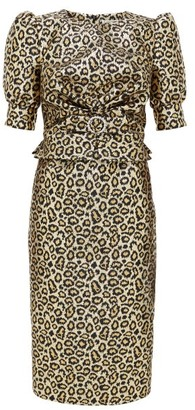 Alessandra Rich Crystal-embellished Leopard-brocade Dress - Gold