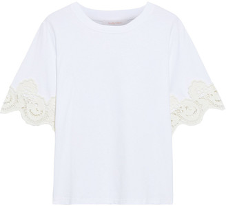 See by Chloe Guipure Lace-trimmed Cotton-jersey T-shirt