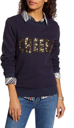 1901 Sequin Cheers Graphic Cotton Blend Sweatshirt