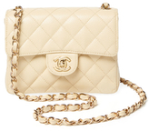 Chanel Vintage Beige Quilted Caviar Classic Flap Mini