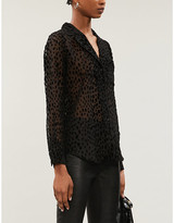 Good American Sheer Bliss velvet-applique patterned mesh shirt