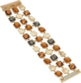Robert Lee Morris Topaz & Black Diamond & Gold Square Magnetic Bracelet