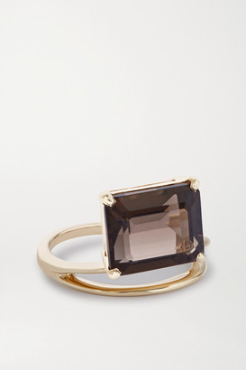 NATASHA SCHWEITZER Double Band 9-karat Gold Quartz Ring - L