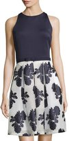 Taylor Scuba Dress W/Embroidered Organza Skirt, Navy/Ivory