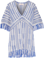 Tory Burch Gwen frayed linen and cotton-blend tunic