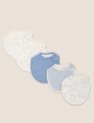 Marks and Spencer 4pk Organic Cotton Printed Dribble Bibs