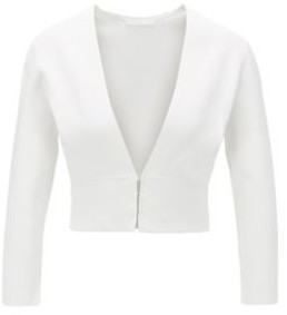 HUGO BOSS Slim Fit Jacket With V Neckline And Hook Closures - White