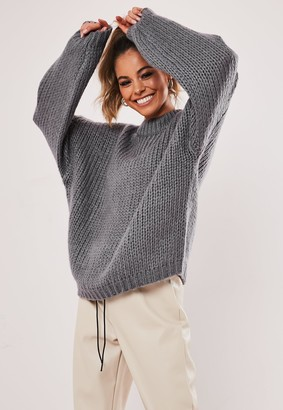 Missguided Premium Grey Chunky Knitted Jumper