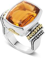 Lagos 18K Gold and Sterling Silver Caviar Color Large Citrine Ring
