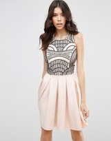 Asos Scuba Skater With Embellished Bodice Dress