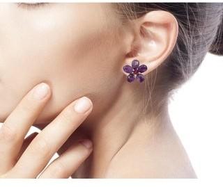 Novica Sterling Silver 'Peace Flower' Amethyst Button Earrings