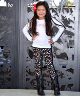 Beary Basics White 'Pretty' Tee & Floral Leggings Set - Infant Toddler & Girls
