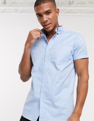 Topman short sleeve oxford shirt in light blue