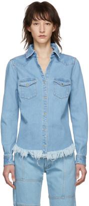 Marques Almeida Blue Denim Fitted Cowboy Shirt