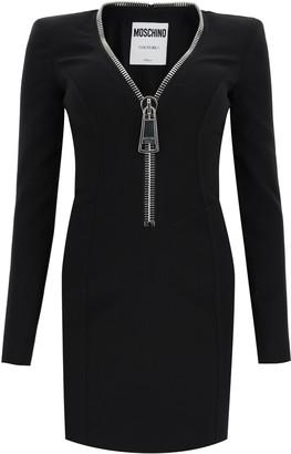 Moschino Macro Zip Detailed Mini Dress