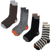Lucky Brand Multi Stripe Crew Cut Socks - Pack of 4
