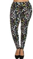 Leggings4U Women's Bright Turquoise Navajo Print Plus Size Fashion Leggings