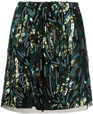 Patrizia Pepe Embellished Straight Mini Skirt