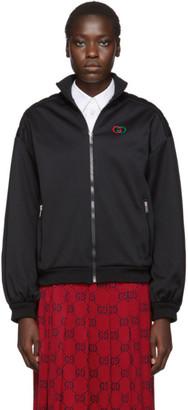 Gucci Black Pad Detail Zip-Up Sweatshirt