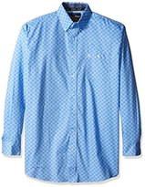 Wrangler Men's Big and Tall George Strait One Pocket Long Sleeve Blue Woven Shirt