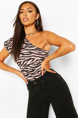 boohoo Zebra Print One Shoulder Bodysuit