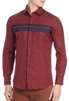 Salvatore Ferragamo Grosgrain Stripe Sport Shirt