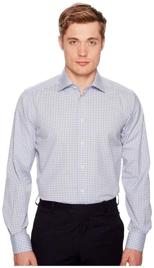 Eton Contemporary Fit Light Plaid Shirt Men's Long Sleeve Button Up