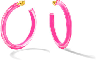 Alison Lou Neon Pink Medium Jelly Hoop Earrings