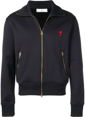 Ami Paris Zipped Sweatshirt With High Collar and Heart Patch