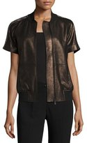 Neiman Marcus Leather Collection Short-Sleeve Chain-Trimmed Leather Bomber Jacket