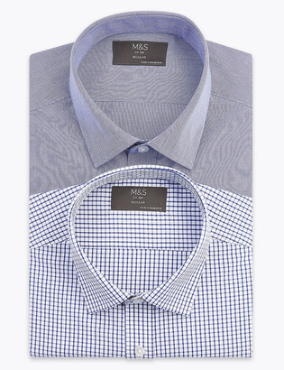 Marks and Spencer 2 Pack Regular Fit Checked Long Sleeve Shirts