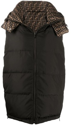Fendi Black and brown FF logo gilet down vest