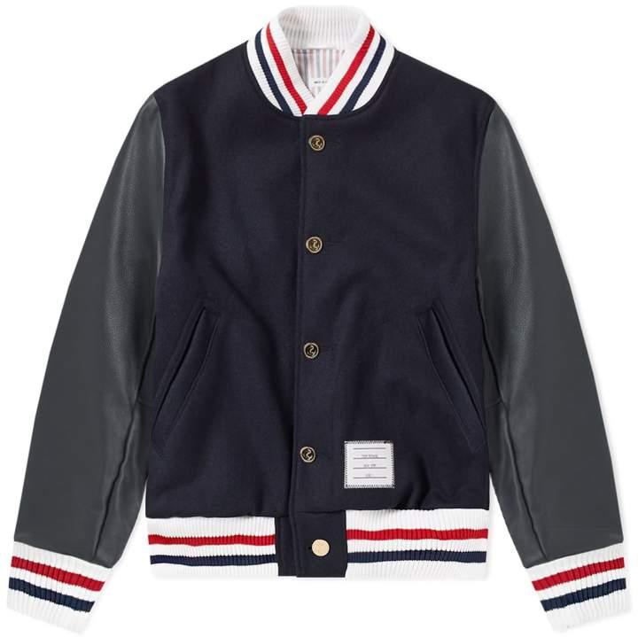 Thom Browne Wool & Leather Varsity Jacket