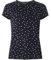 Dorothy Perkins Womens Navy Polka Dot Printed T-Shirt