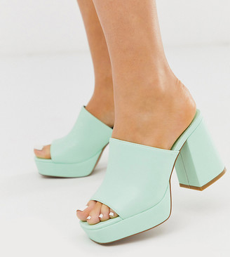 Asos Design DESIGN Wide Fit Happy chunky platform mules in mint-Green