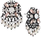 Marchesa Black-Tone Multi-Stone & Imitation Pearl Drop Earrings