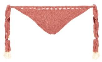 She Made Me Laharia Side-tie Crochet Bikini Briefs - Womens - Light Pink