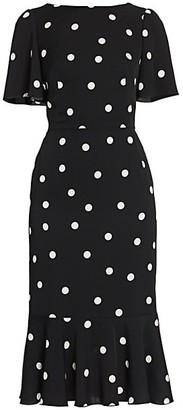 Dolce & Gabbana Charmeuse Flutter-Hem Polka Dot Sheath Dress