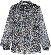 Paul & Joe Esoupolait Printed Silk-chiffon Shirt - Navy