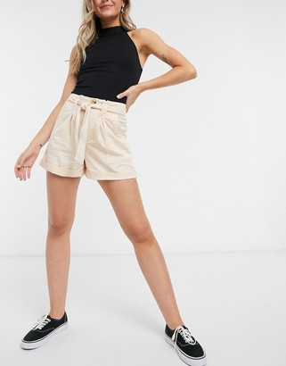 Miss Selfridge paperbag shorts with belt in stone