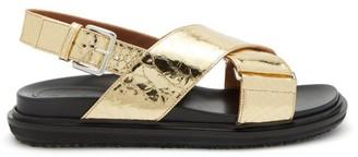 Marni Fussbett Crackled-effect Leather Sandals - Gold
