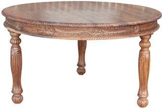 One Kings Lane Vintage Anglo Indian Carved Round Library Table - de-cor