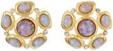 Kenneth Jay Lane Satin Gold/Crystal Pink Opal Cab Cluster Pierced Ear Earrings