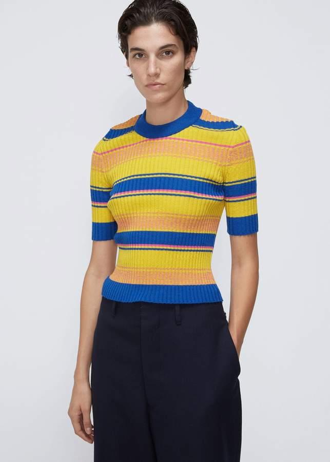 Maison Margiela Short Sleeve Striped Turtleneck