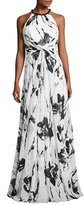 Carmen Marc Valvo Sleeveless Floral Silk Twist Gown, Ivory/Black